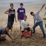 Students on the seashore