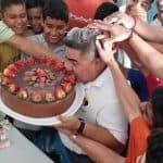 Beres birthday eating cake