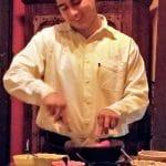 Student preparing dish